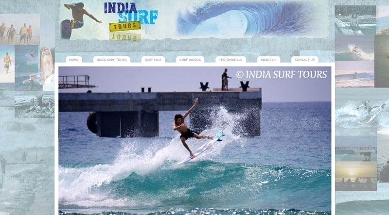 India Surf Tours website