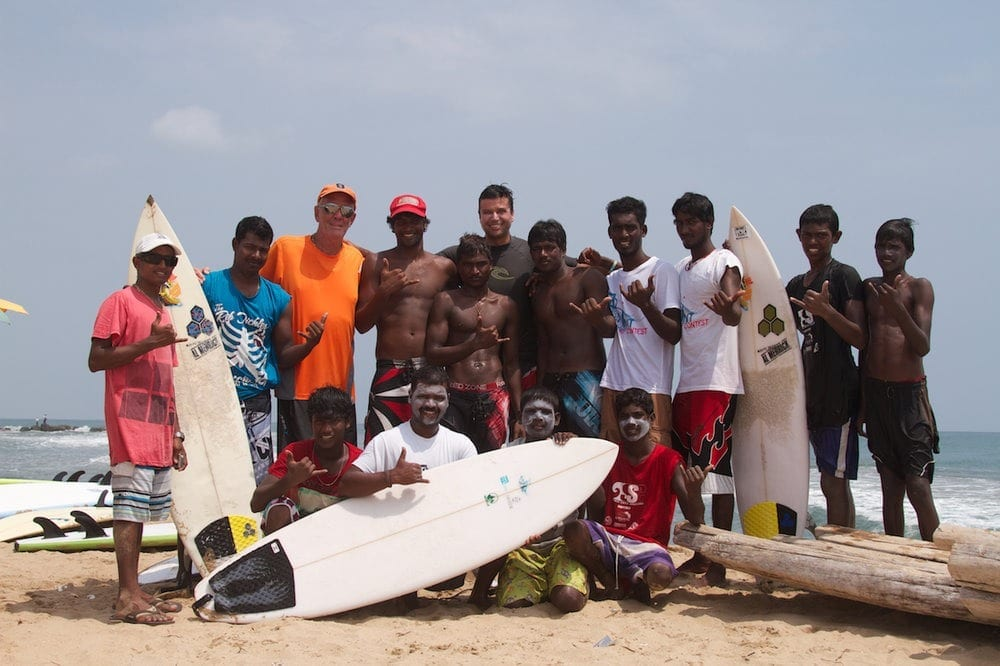 Murthy and Swami with Kovalam surfers© Rammohan Paranjape