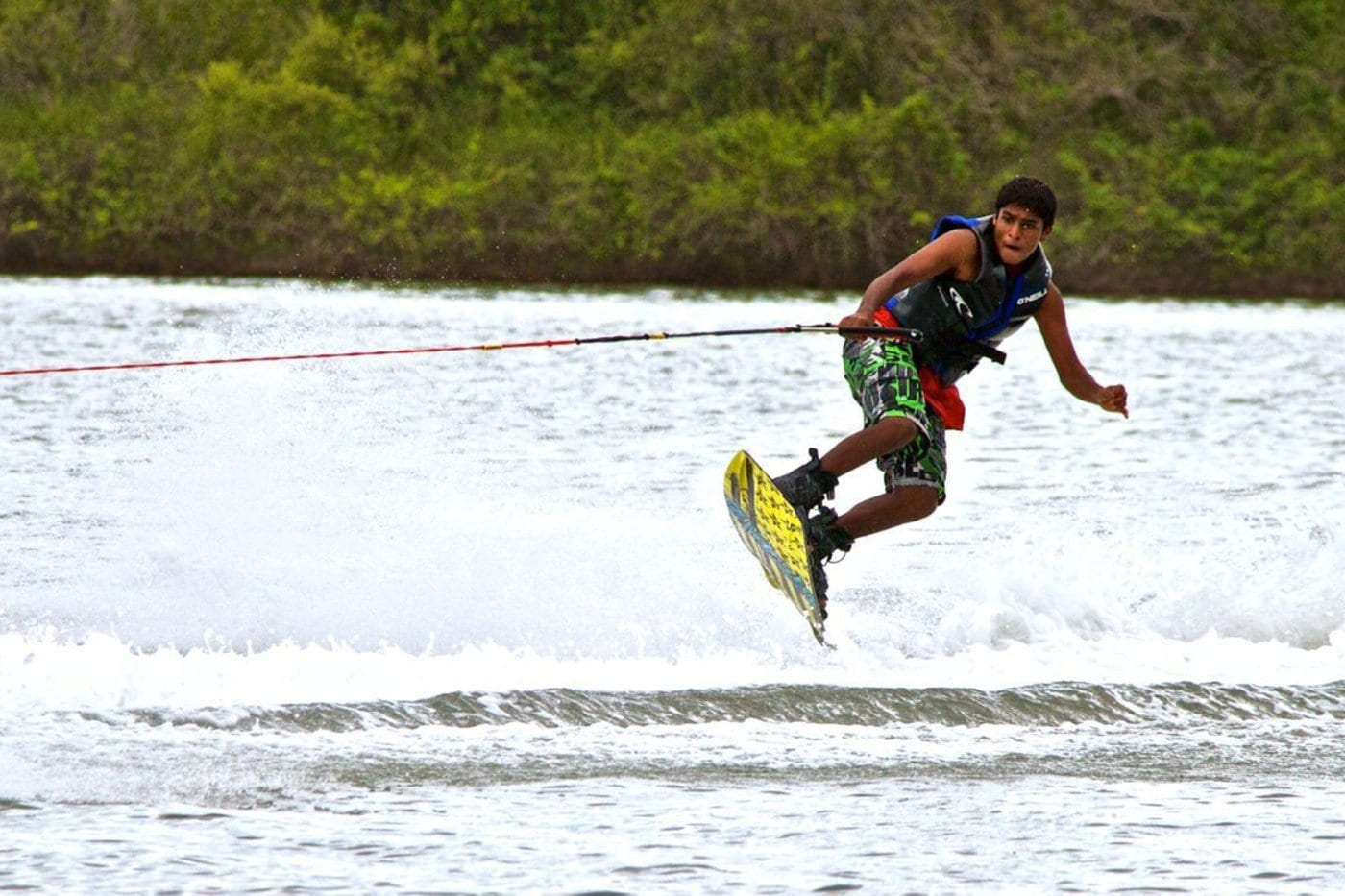 Shamanth Kumar getting air time during wakeboardin© Mantra Surf Club