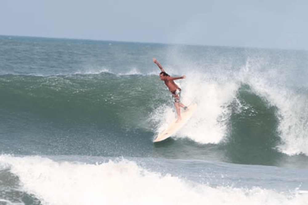 With arms wide open, Rick 'Babaji' Perry.© Mantra Surf Club